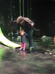 Mommy Carmelita Becnel, Stage Manager, and daughter Lilly check out the lights onstage. Magic Rainforest at Lewis Center for the Arts, Princeton University.