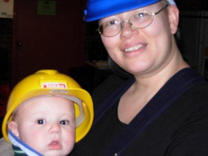 "Linda-Cristal Young, Staff Electrician, Yale Repertory Theatre. On-site, baby is ""Trying to be like mommy!"""