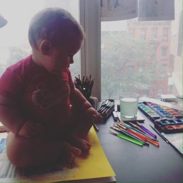 Baby Jo in mother's studio, Elizabeth Barrett Groth, Designer.
