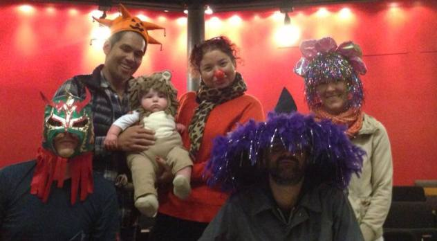 "Matthew, 4 months old, with the Director and designers of ""Appropriate"" at Woolly Mammoth Theatre Co. in DC when tech fell on Halloween."