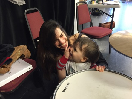 Shana and Jonah, age 1, checking out the drums on break at rehearsal for The Unfortunates, American Conservatory Theater (ACT) SF.