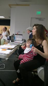 Shana and Jonah, age 1, in rehearsal for The Unfortunates, ACT.